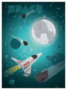 Vintage-style travel poster by Alex Asfour -- Space