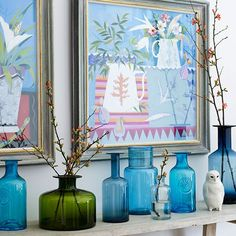 Blue glass shelf display | How to decorate with blue | PHOTO GALLERY | Homes & Gardens | housetohome.co.uk