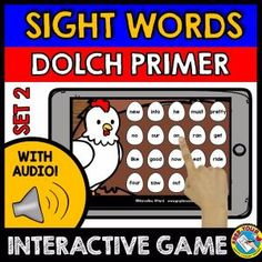DOLCH PRIMER WORDS SET 2 (SIGHT WORDS GAME WITH AUDIO: FARM THEME)    A fun sight words game (Dolch Primer words) where kids hear sight words and click the egg containing the corresponding word. Farm theme makes it even more fun for kids to hunt for the words! :)    This game contains 20 words from the Dolch Primer Words.     Keywords: identifying sight words, interactive audio game, common words, fluency words, Kindergarten sight words, Fry words, Fry Sight Words,