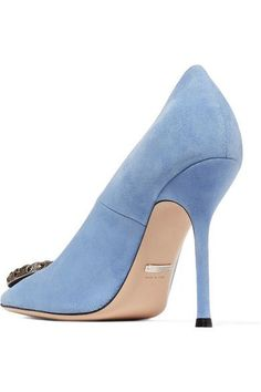 Gucci - Dionysus Embellished Suede Pumps - Light blue - IT41.5