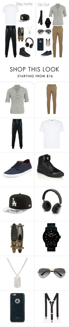 """""""Stay in or Go out"""" by matis-febb ❤ liked on Polyvore featuring Allegra K, Brioni, Les Hommes, Ben Sherman, Versace, New Era, B&O Play, Globe, Nixon and Loren Stewart"""