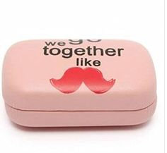 Cute Bow Beard Heart Hat Contact Lens Case Travel Eye Care Kit Holder Mirror by STCorps7