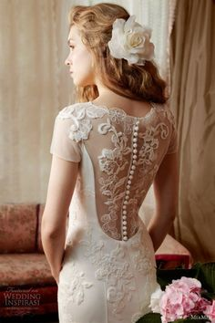 MiaMia Alan Hannah Spring Bridal Collection ♥ Gorgeous Lace Back Button Wedding Dress | Ozel Tasarim Tul Uzeri Dantel Islemeli Sirti Dugmeli Gelinlik