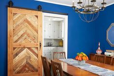 Beautiful Doors - wood barn door with blue wall This Old House Doors Interior, House Design, New Homes, Wood Doors Interior, Painted Front Doors, House, Sliding Barn Door Hardware, Old Houses, Barn Door Projects
