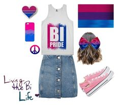 """""""Coming Out As Bisexual ❤"""" by sgt-peppers-yellow-submarine ❤ liked on Polyvore featuring Topshop, Humör, Converse, pride, bisexual and nohomophobes"""