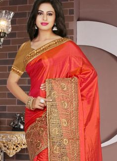Fantastic Tissue Orange Resham Work Designer Saree #indian #saree #trendy #red #bridal#bollewood #party wear #traditional#online #mangosurat#style #boutiques #shopping #fashion #modal #social #branding #sales #marketing #business #discount #deal #success #ethnic #creation #embroidery #classic #cloth #clothing #bridal wear#jardoshi #work #chiffon #acteress #navel #desi #new #woman fashion #designersuit #bridal