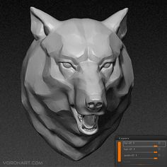 3D Wolf head. Zbrush layers sculpting