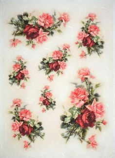 Rice Paper for Decoupage Decopatch Scrapbook Craft Sheet Vintage Red Roses Small Tissue Paper Crafts, Paper Napkins For Decoupage, Decoupage Vintage, Vintage Flower Prints, Vintage Flowers, Red Rose Bouquet, Arte Floral, Belle Photo, Red Roses