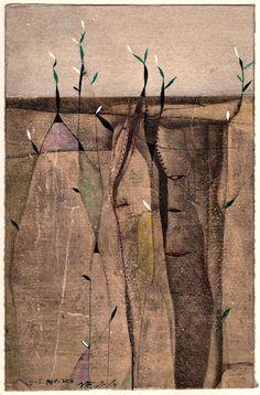 "takahikohayashi: "" D-5.Apr.2016/ mixed media painting on the mono type printed Gampi paper,1984 / 26.0x17.0cm HAYASHI Takahiko 林孝彦 """