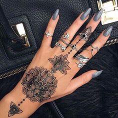 Tribal Mandala Hand Tattoo Ideas Black Henna - Grey Shiny Nails Art - MyBodiArt.com
