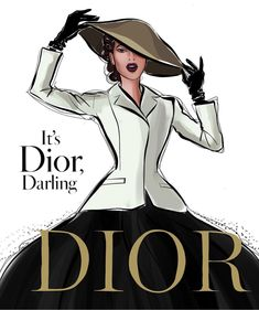 It's Dior, Darling 🖤 Illustration Mode, Fashion Illustration Sketches, Fashion Design Sketches, Megan Hess Illustration, Art Sketches, Foto Fashion, Fashion Art, Fashion Show, Vintage Fashion