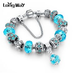 LongWay European Style Authentic Tibetan Silver Blue Crystal Charm Bracelet for Women Original DIY Beads Jewelry Christmas Gift