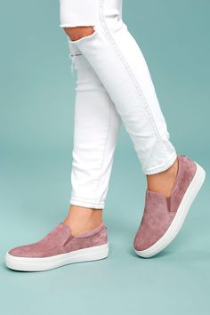 77637128c1b Steve Madden Gills Mauve Suede Leather Slip-On Sneakers