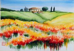 """"""" papaveri e segale """" acquerello di Lorenza Pasquali 35x51 www.lorenzapasquali.it  Copyright © Lorenza Pasquali"""