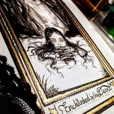 ArtStation - Inktober- Enchanted (by the devil herself), Iuliia Martynenko Drawing S, My Drawings, Tarot Cards, Inktober, Enchanted, Devil, Artwork, Artist, Gold