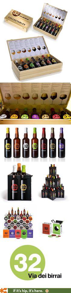Fabulous packaging, displays, logo, and bottle designs for Italian artisan brewery 32 Via Dei Birrai by Novaidea