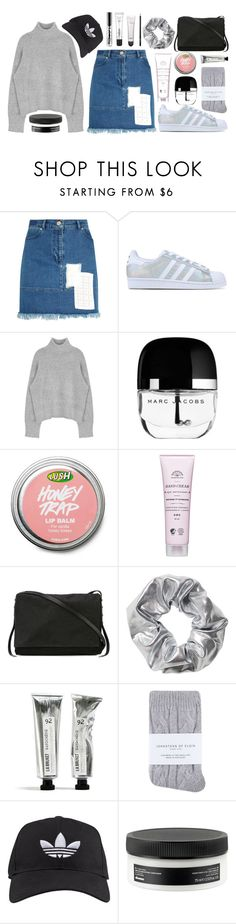 Run About by swanniboo on Polyvore featuring House of Holland, Johnstons, adidas Originals, Rick Owens, adidas, Monki, Davines, Marc Jacobs, women's clothing and women's fashion