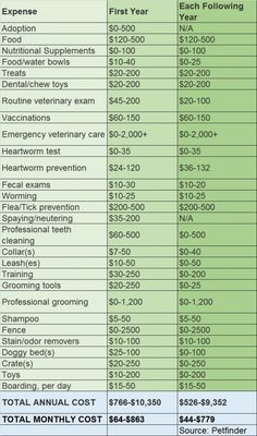 Petfinder stats: With all of the costs associated with owning a dog ranging from grooming to veterinary services to food and treats, the monthly cost of having a pet can range anywhere between roughly $45 and $780. The chart below breaks down the annual cost of caring for a dog. The data comes from Petfinder.com.