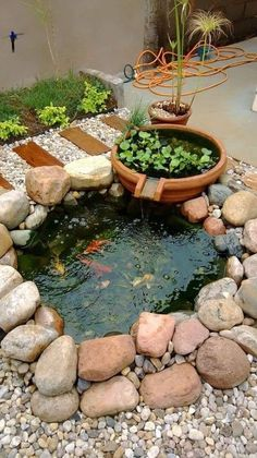 40 Awesome Garden Waterfall Ideas - Many people today spend more and more time in their homes and realise the importance of making their surroundings beautiful and peaceful. In this aspe. Small Backyard Ponds, Outdoor Ponds, Small Ponds, Small Garden Waterfalls, Small Fish Pond, Outdoor Fountains, Fish Pond Gardens, Small Water Gardens, Garden Pond Design