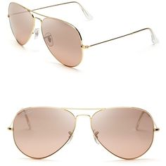 Ray-Ban Classic Aviator Sunglasses ($160) ❤ liked on Polyvore featuring accessories, eyewear, sunglasses, glasses, oculos, acessorios, pink flash, aviator sunglasses, pink glasses and glasses aviator