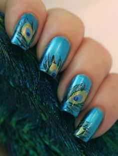 Peacock Feather Print .... #NailDesigns #NailArt #NailArtDesigns