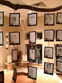 """Hanging Art - children's self portraits hanging from a tree branch. Love this ("""",)"""