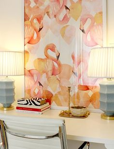 """Flamingo Mingle"" art print by COZAMIA  #art, #decor, #cozamia"