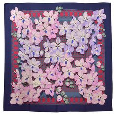 Beautiful Floral Hermes Silk Scarf   From a collection of rare vintage scarves at https://www.1stdibs.com/fashion/accessories/scarves/