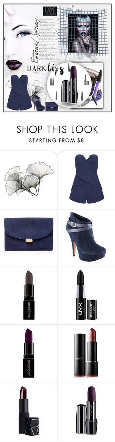 """#darklips"" by jecakns ❤ liked on Polyvore featuring beauty, River Cottage Gardens, Wella, Finders Keepers, Mansur Gavriel, ALDO, Smashbox, NYX, blacklUp and NARS Cosmetics"