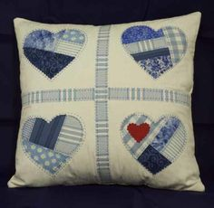 Broken Heart Cushion- might sew together scraps then cut out hearts to achieve this look.