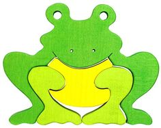 Frog - Waldorf wooden puzzle, made by hand of maple wood,no harmful colors and no lacquer