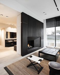 Fireplace, neutral living space.
