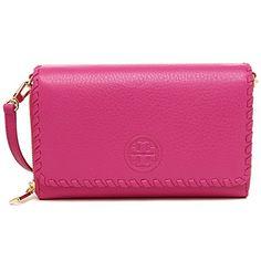 09b3876f581 Tory Burch MARION Leather Flat Wallet Crossbody Bag HIBISCUS FLOWER   handbags  HibiscusFlower  ToryBurch