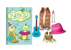 A cool outfit inspired by our 2013 Daycraft Animaland Diary (Penguin) $15 - Daisy Rock Pixie Acoustic Guitar  - Pins And Needles Faux Fur Vest  - Monserat De Lucca Brass Music Notes Ring  - Mossimo Supply Co. Hot Pink Straw Fedora with Grosgrain Trim  - Lancôme La French Touch lipstick