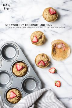 Grain-free Strawberry Tigernut Muffins (Vegan, Gluten-free, Paleo, No sugar added) (CDK in db)