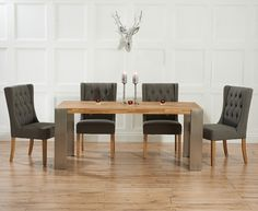 9cfcb064affc Buy Mark Harris Montana Oak and Metal Dining Set with 4 Albury Grey Dining  chairs online by Mark Harris Furniture from CFS UK at unbeatable price.