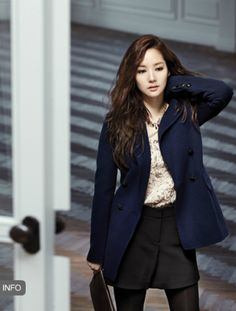 this one is very young, like for a receptionist or a student in practice Korean Girl Fashion, Kpop Fashion, Cute Fashion, Asian Fashion, Fashion Outfits, Ulzzang Fashion, Park Min Young, Office Looks, Korean Celebrities