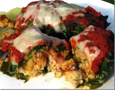 Stuffed Swiss Chard using bell pepper, fresh Italian parsley and Ruby Red Swiss Chard from your CSA farm box.  Optional:  Make the tomato sauce using your CSA tomatoes.
