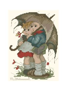"""Stormy Weather"" / ""In The Rain"" - Hummel cross stitch design"