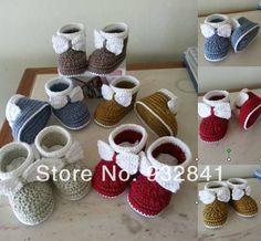 9% off. Elegante e confortável Crochet sapatinho de bebê de 100% cotten. ( Bowie ) 9.10.11cm. Gota. Shipping6pais / 12 pcs(China (Mainland))