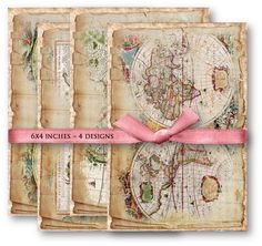 Digital Collage Sheet Download  Shabby World Maps   846