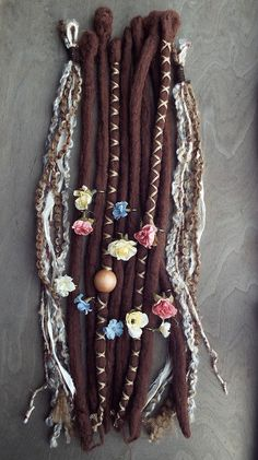 10pc TieDye Wool Brown Flower Maiden Dreads by PurpleFinchStore