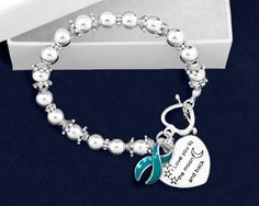 I Love You To The Moon And Back Teal Ribbon Bracelet