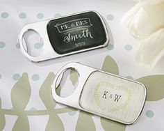 Personalized Bottle Opener with Epoxy Dome - Rustic Country Theme Wedding