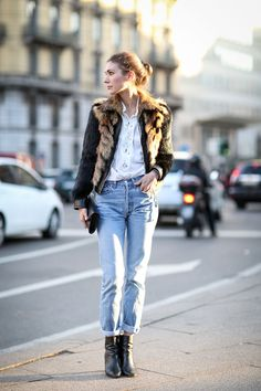 // Light and loose jeans get dressed up with a fuzzy bomber—scdforr29