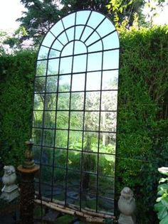 Extra Large Belgian Curved Top Iron Window Pane Mirror Black Iron Frame with Black Caulk/Round Circle Top Decor 12 6