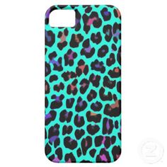 Pretty and Bright Turquoise Pop Leopard Print iPhone 5 Cover