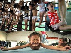 A picture of Chinese Olympic camp. Nanning Gymnasium in Nanning, China, is one of many ruthless training camps across the country to which parents send their children to learn how to be champions.