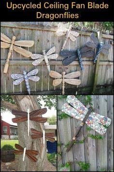 Yard Art Crafts, Garden Crafts, Garden Projects, Diy Projects, Fan Blade Dragonfly, Dragonfly Yard Art, Outdoor Crafts, Outdoor Art, Outdoor Decor