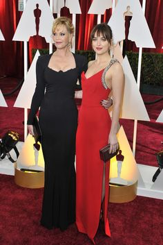 Melanie Griffith with Dakota Johnson in Saint Laurent and Forevermark on the Oscars 2015 Red Carpet. [Photo by Donato Sardella]